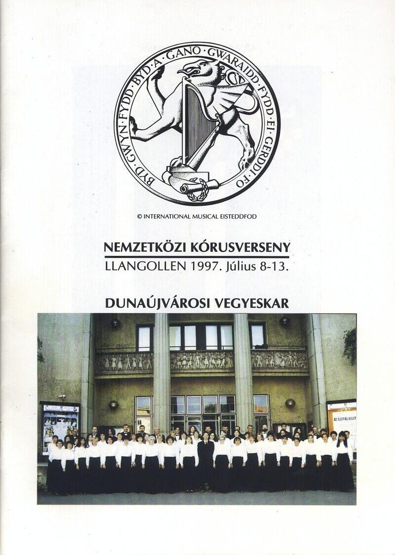 A Dunaújvárosi Vegyeskar 1997-es brosúrájának fedőlapja, Eisteddfod